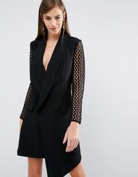 Платье-смокинг с сетчатыми рукавами The 8th Sign - Черный