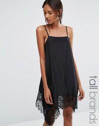 Платье на тонких бретельках с кружевным подолом Vero Moda Tall - Черный