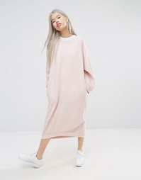 STYLENANDA Midi Oversized Sweat Dress - Розовый