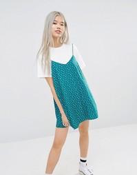 Свободное платье-футболка 2-в-1 с цветочным принтом STYLENANDA - Белый