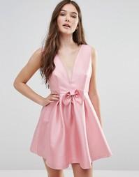 Платье с бантом спереди Pixie & Diamond - Розовый