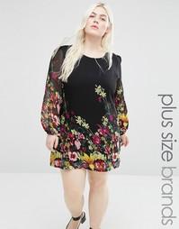 Цельнокройное платье размера плюс с цветочным принтом Yumi Plus - Черный