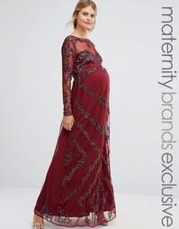Полупрозрачное платье макси с декоративной отделкой Maya Maternity - Красный