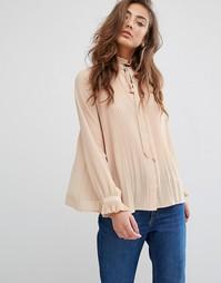 Плиссированная блузка Miss Selfridge - Бежевый