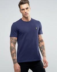 Темно-синяя футболка из пике с логотипом Lyle & Scott - Темно-синий