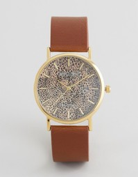 Часы с коричневым кожаным ремешком и леопардовым принтом Reclaimed Vintage - Коричневый