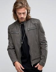 Темно-серая кожаная байкерская куртка со стегаными плечами Goosecraft - Серый