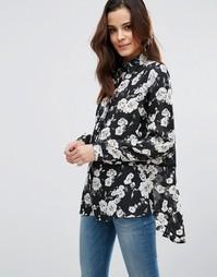Свободная блузка с розами Poppy Lux Reanne - Черный
