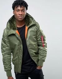 Зеленая куртка-пилот с капюшоном Alpha Industries MA-1 - Зеленый