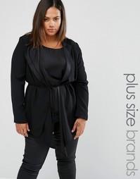 Пиджак с драпировкой Elvi Plus - Черный