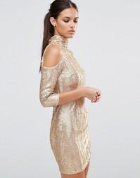 Платье мини с открытыми плечами и пайетками TFNC - Кремовый