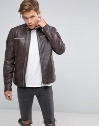 Коричневая кожаная байкерская куртка Goosecraft - Коричневый