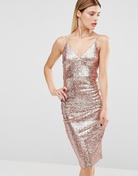 Платье миди на бретельках с золотистыми пайетками Club L - Золотой