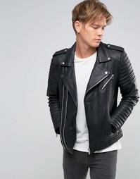 Черная кожаная байкерская куртка с асимметричной молнией Goosecraft - Черный