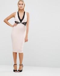 Платье-футляр с кружевной вставкой Hedonia - Розовый