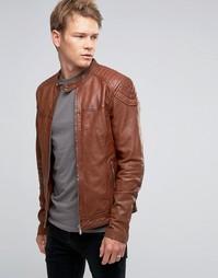 Светло-коричневая кожаная байкерская куртка Goosecraft - Рыжий