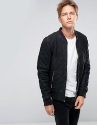 Черная стеганая кожаная куртка-пилот Goosecraft - Черный