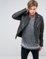 Черная байкерская куртка из кожи Goosecraft - Черный