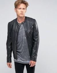 Черная кожаная байкерская куртка со стеганой отделкой Goosecraft - Черный