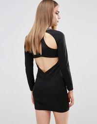 Облегающее платье с декорированной горловиной Madame Rage - Черный