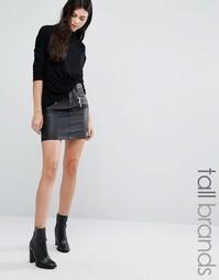 Мини-юбка с окрашенными молниями Vero Moda Tall - Черный