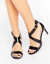 Черные сандалии на каблуке с перекрестным дизайном Faith - Черный