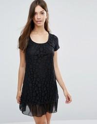 Платье с кружевной накладкой в горошек Jasmine - Черный