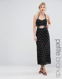 Платье макси для миниатюрных с отделкой и вырезами Maya Petite - Черный
