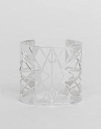 Браслет-манжета с геометрическим дизайном Pilgrim - Серебряный