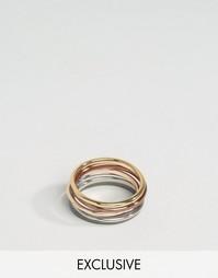 Набор из 6 однотонных колец DesignB London - Мульти