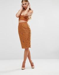 Юбка миди с цветочной вышивкой Missguided - Оранжевый
