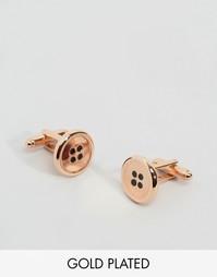 Розово-золотистые запонки в виде пуговиц Simon Carter эксклюзивно для ASOS - Золотой