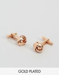 Розово-золотистые запонки с отделкой в виде узелков Simon Carter эксклюзивно для ASOS - Золотой