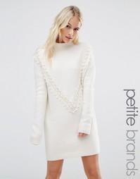 Платье-джемпер с кружевной отделкой в виде шевронов Vero Moda Petite - Кремовый