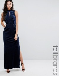 Бархатное платье макси с кружевом на спине Vero Moda Tall - Темно-синий