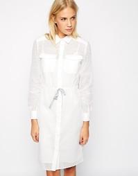 Платье-рубашка с вышивкой и пуговицами Paul by Paul Smith - Белый