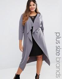 Легкое пальто с каскадной драпировкой и поясом Boohoo Plus - Коричневый