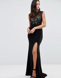 Платье макси с декорированным кружевом Forever Unique Sheba - Черный