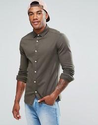 Джинсовая рубашка хаки суперузкого кроя ASOS - Зеленый
