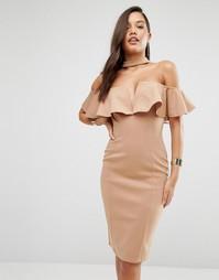 Платье-футляр с оборками и высокой горловиной Rare London - Рыжий