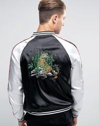 Куртка-пилот с вышивкой тигра Liquor & Poker - Черный
