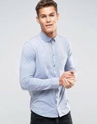 Трикотажная рубашка классического кроя с длинными рукавами Burton Menswear - Синий