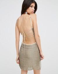 Платье мини в полоску из пайеток Walter Baker Shirley - Серебряный