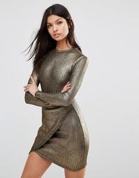 Асимметричное платье в рубчик с длинными рукавами и эффектом металлик Club L - Золотой