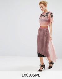 Кружевная юбка миди с накладкой из органзы Hope & Ivy Co-ord - Розовый