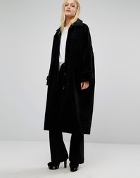 Длинное вельветовое пальто Monki - Черный