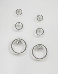 Набор из 3 пар сережек с декорированными стразами дисками Monki - Серебряный