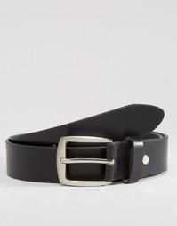 Черный узкий кожаный ремень 7X - Черный