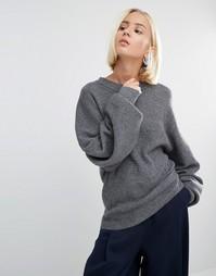 Вязаный джемпер в рубчик с широкими рукавами Weekday - Серый