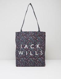 Темно-синяя сумка с цветочным принтом Jack Wills Ambleshire - Темно-синий